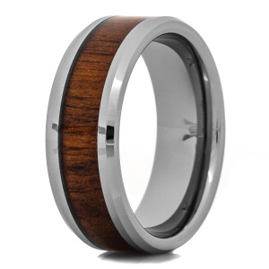 Men's Tungsten Wedding Band with Black Walnut Wood Inlay