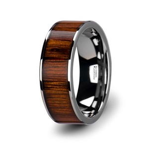 Flat Tungsten Carbide Ring with Polished Edges /& Real Zebra Wood Inlay 8mm