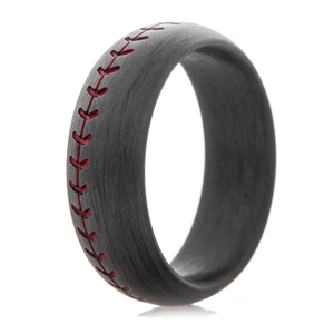 Men's Carbon Fiber Black Baseball Ring with Red Stitching
