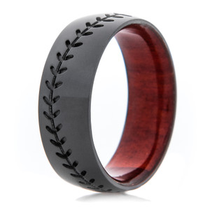 Men's Black Zirconium Baseball Ring with Redheart Hardwood Sleeve