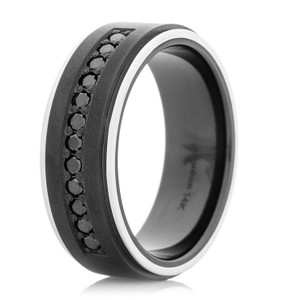 Men's Black Zirconium Ring & Channel Set Black Diamonds