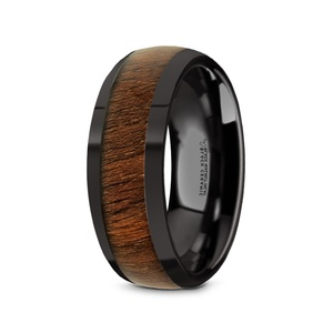 Men's Black Ceramic Domed Wedding Band with Black Walnut Inlay and Polished Finish
