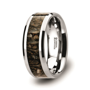 Dinosaur Bone Inlaid Tungsten Carbide Ring with  Beveled Edges