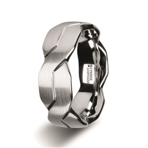 White Tungsten Ring with Brushed and Carved Infinity Symbol Design