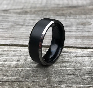 Men's Black Brushed Center Tungsten Carbide Ring with Polished Beveled Edges