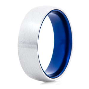 Men's Satin Cobalt Chrome Ring with Anodized Blue Interior