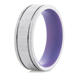 Men's Flat Titanium Ring with Dual Grooves and Bright Purple Interior