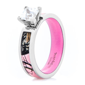 Women's Pink Mossy Oak® Camo Engagement Ring with Pink Interior