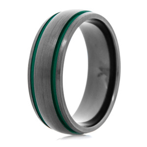 Men's Black Zirconium Ring with Dual Green Grooves