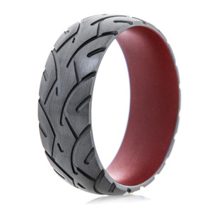 Men's Black Zirconium Motorcyle Tread Ring with Crimson Interior