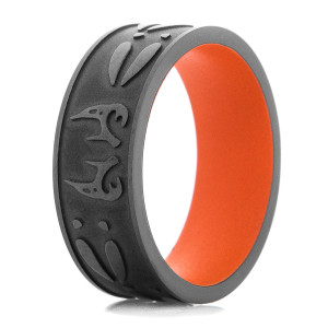 Men's Black On Black Deer Antler & Tracks Ring with Orange Sleeve