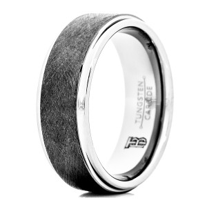 Men's Tungsten Carbide Wedding Band with Brushed Finish