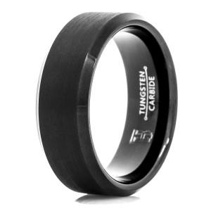 Men's Black Tungsten Carbide Wedding Band with Beveled Edge