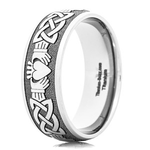 Men's Titanium Dome Profile Celtic Claddagh Ring