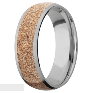 Men's Titanium Tan Dinosaur Bone Inlay Ring