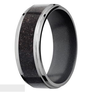 Men's Titanium Black Dinosaur Bone Inlay Ring