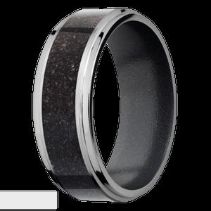 Men's Titanium Black Dinosaur Bone Inlay Ring