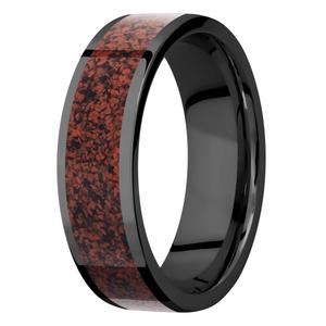 Men's Flat Profile Black Zirconium Ring with Red Dinosaur Bone Inlay