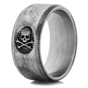 Jolly Roger Titanium Carved Ring