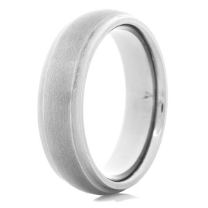 Men's Dual Finish Tantalum Ring with Dome Profile