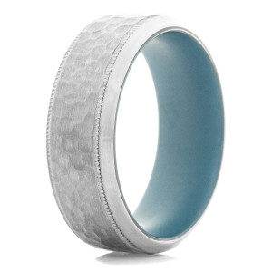 Men's Hammered Tantalum Ring with Milled Edges