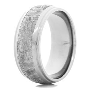Men's Tantalum Ring with Meteorite Inlay