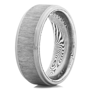 Men's Cross Satin Tantalum Ring with Designed Sleeve