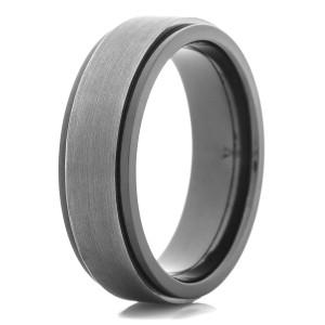 Men's Black Zirconium Ring with Tantalum Inlay
