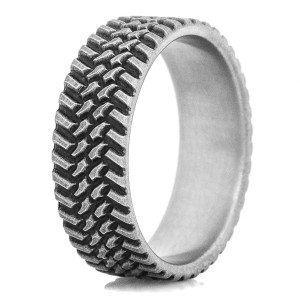 Men's Titanium Rugged Finish Off Road Tread Ring
