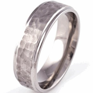 Reorder- Grooved Edge Flat Profile Titanium Hammered Ring
