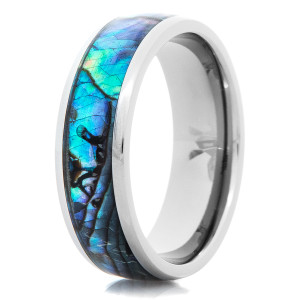 Men's Titanium and Abalone Inlay Ring