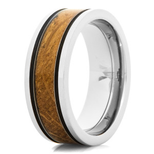 Men's Titanium & Whiskey Barrel Inlay Ring with Black Accents