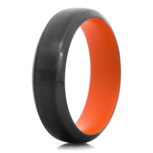 Men's Black Zirconium Ring with Hunter Orange Sleeve