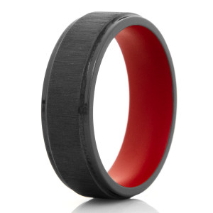 Men's Cross Satin Finished Black Zirconium Ring with Red Interior
