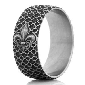 The Titanium Battle Worn Finish Fleur De Lis Ring