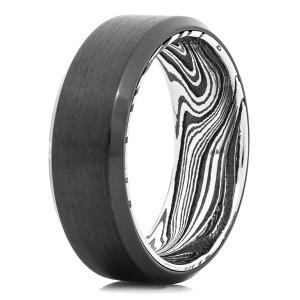 Men's Black Zirconium Ring with Marble Damascus Interior