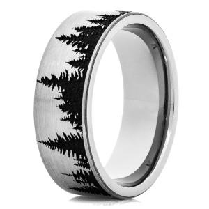 Men's Flat Profile Titanium Tree Line Ring