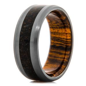 Men's Black Zirconium Black Dinosaur Bone Ring with Bocote Wood Sleeve