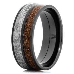 Men's Black Zirconium Meteorite and Dinosaur Bone Ring
