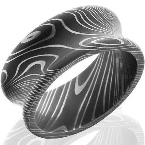 Men's Concave Acid Finish Damascus Steel Ring