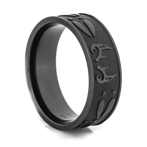Men's Blacked Out Antler and Tracks Rings