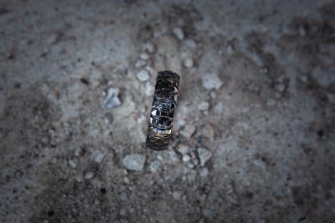 Men's Black Dirt Bike Tire Tread Ring