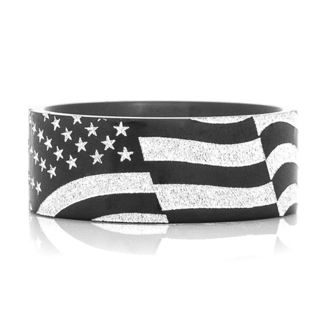 Black Zirconium American Flag Ring
