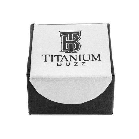 Men's Titanium Deer Antler Inlay Wedding Ring