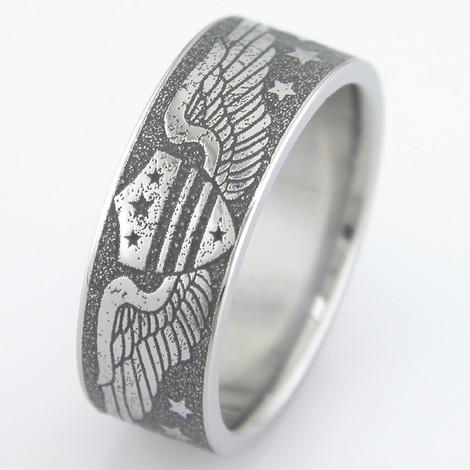 Men's Titanium Vintage Aviation Wedding Ring