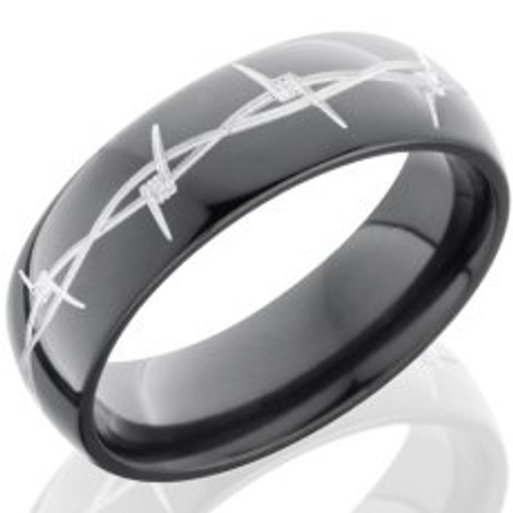Black Zirconium Barbwire Ring