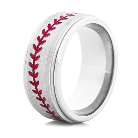 Men's Grooved Edge Titanium Baseball Ring with Stitching
