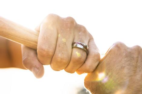 Men's Titanium Baseball Wedding Ring with Color Stitching