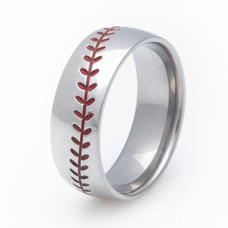 Titanium Baseball Wedding Ring with Color Stitching   Titanium Buzz