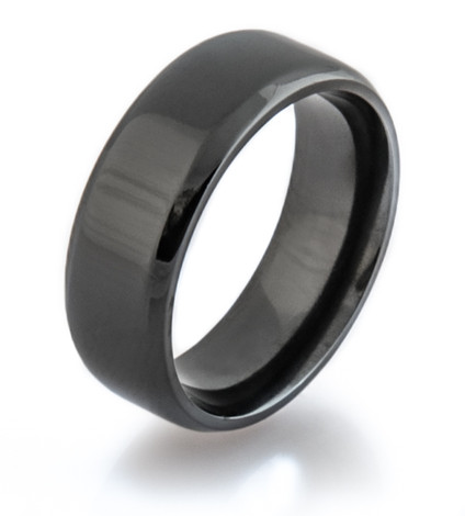 Beveled Black Zirconium Ring